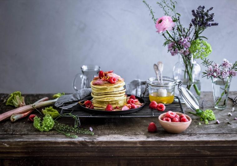 Ricotta-Pancakes mit roasted Rabarber 06