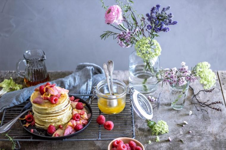 Ricotta-Pancakes mit roasted Rabarber 12