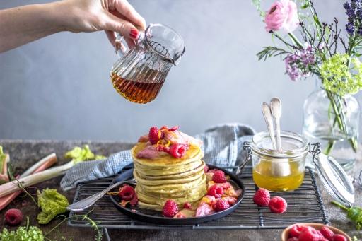Ricotta-Pancakes mit roasted Rabarber 13